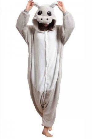 pijama intreaga tip salopeta - hipopotam