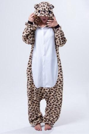 pijama intreaga tip salopeta - leopard